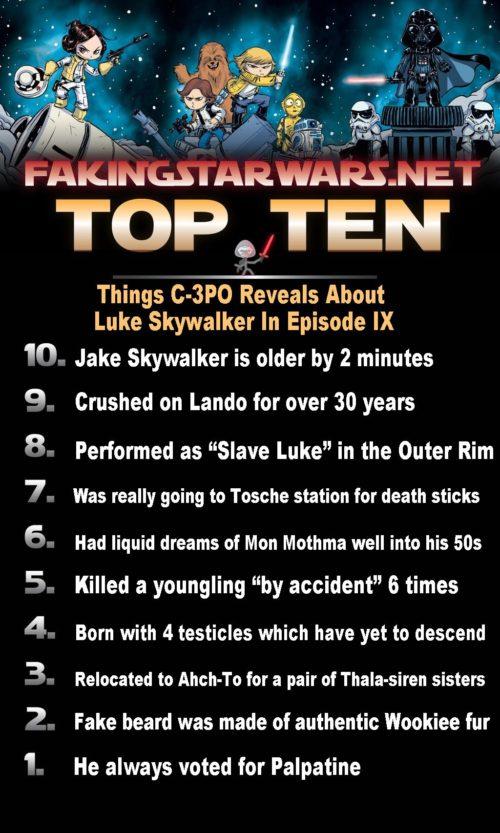Top 10 Things C-3PO Reveals About Luke Skywalker In Episode IX